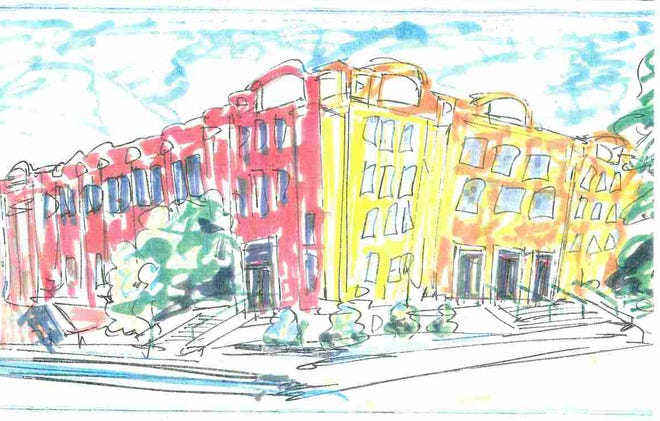 Memorial Auditorium in Burlington is depicted in cheery colors in this painting from a Burlington City Arts proposal for the building in 1995.
