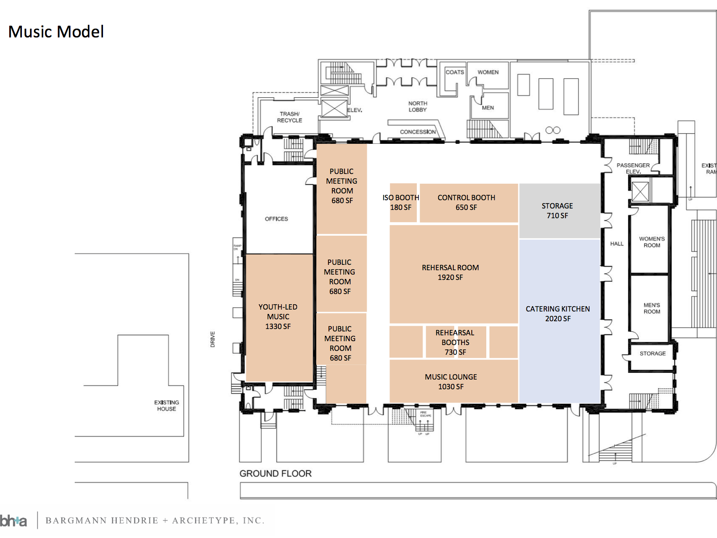 Music is emphasized in one of three proposed ground floor plans for the rehabilitation of Memorial Auditorium, presented by CEDO at a public meeting Oct. 11, 2018.