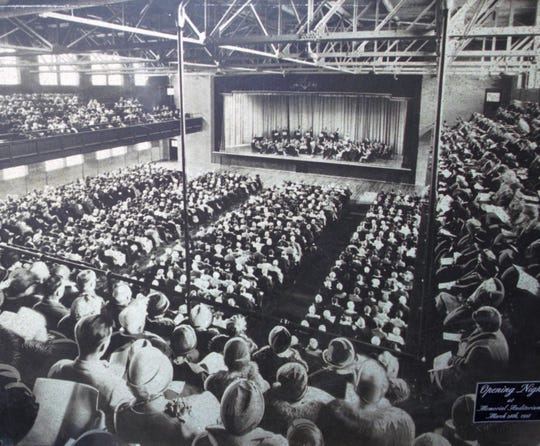 Opening night of a concert at Memorial Auditorium is shown in this photograph from 1929.