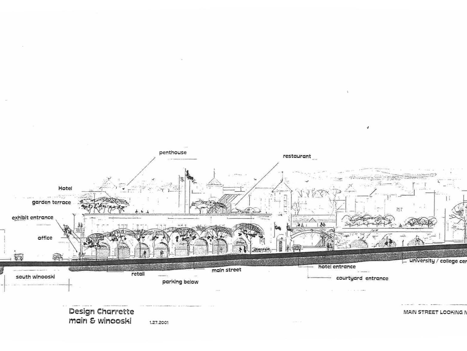2001: A fanciful sketch of proposed changes to the area around Memorial Auditorium in Burlington shows a  hotel, a rooftop terrace and a restaurant.