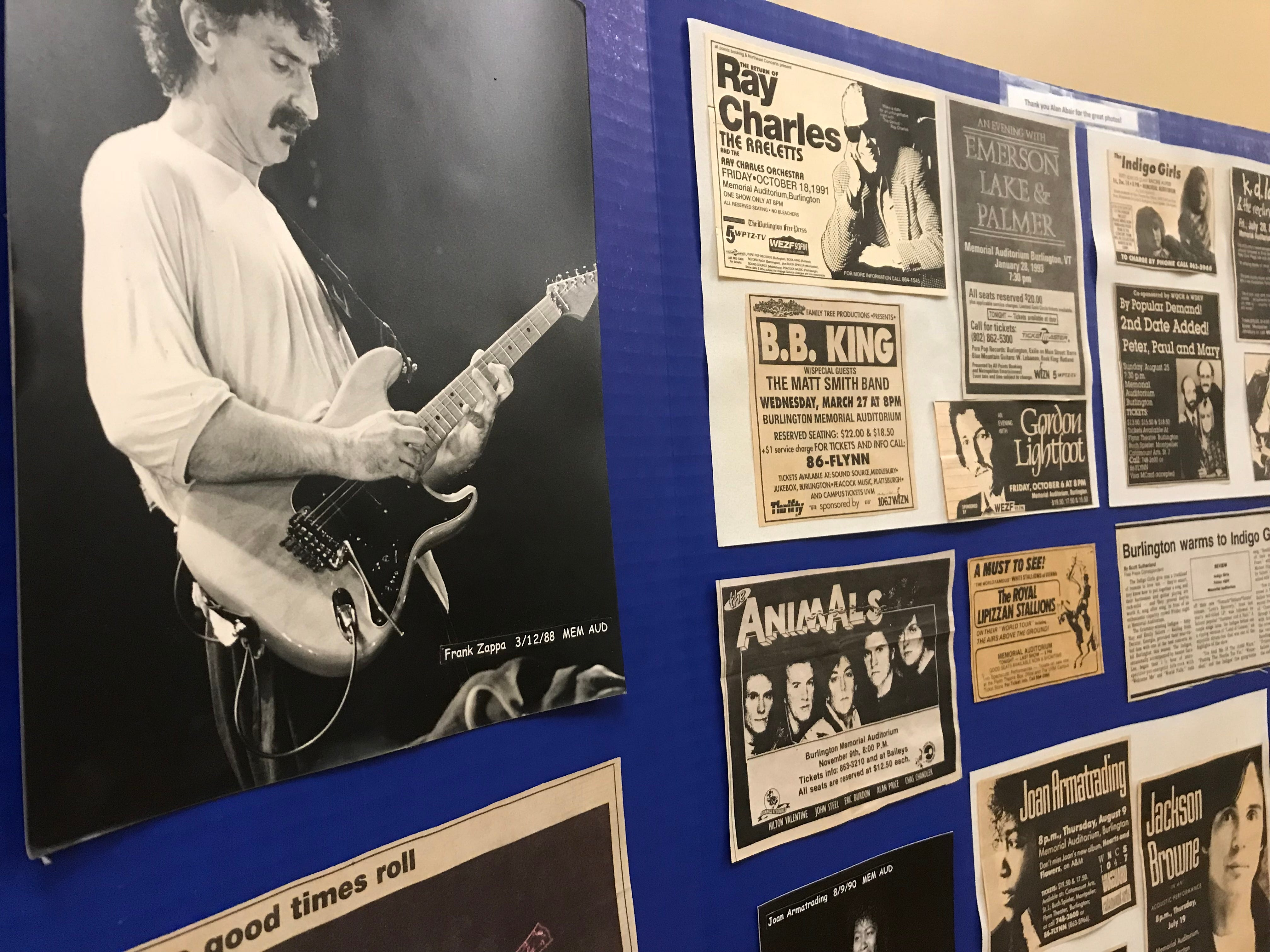 A display of musical acts that have performed at Memorial Auditorium in Burlington is presented at a public meeting hosted by CEDO at City Hall on Aug. 30, 2018.