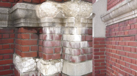 Crumbling cast concrete at Memorial Auditorium in Burlington is shown in this image from a CEDO presentation on the building's condition on Aug. 30, 2018.