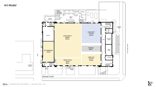 Art is emphasized in one of three proposed ground floor plans for the rehabilitation of Memorial Auditorium, presented by CEDO at a public meeting Oct. 11, 2018.