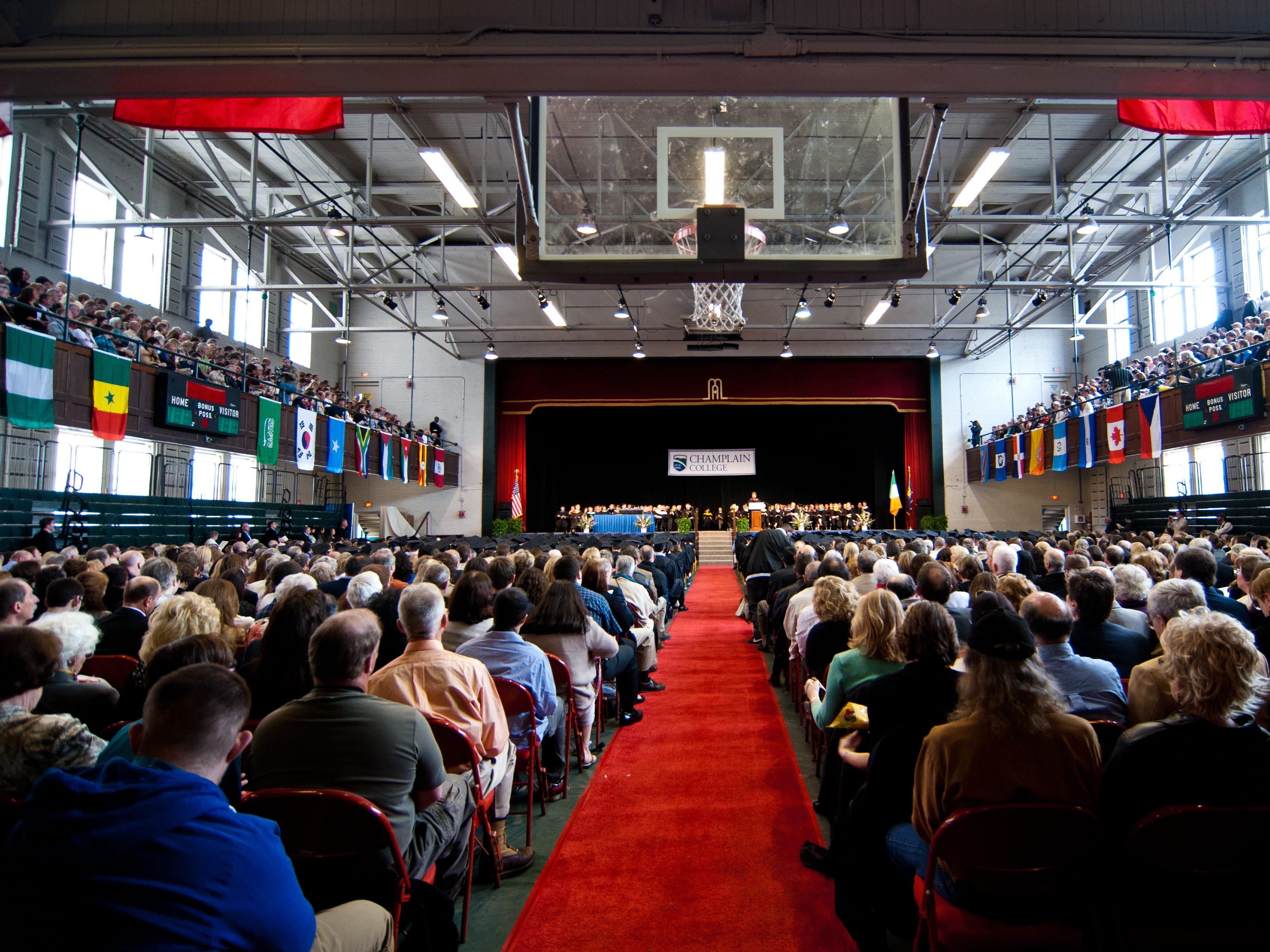 Students, parents and visitors gather in Memorial Auditorium in Burlington on Saturday morning for Champlain College's 134th commencement ceremony on Saturday, May 5, 2012.