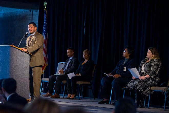 Nueces County District Attorney Mark A. Gonzalez speaks at the State of the DA presented by the Corpus Christi Crime Stoppers at the Congressman Solomon P. Ortiz International Center on Wednesday, October 17, 2018.