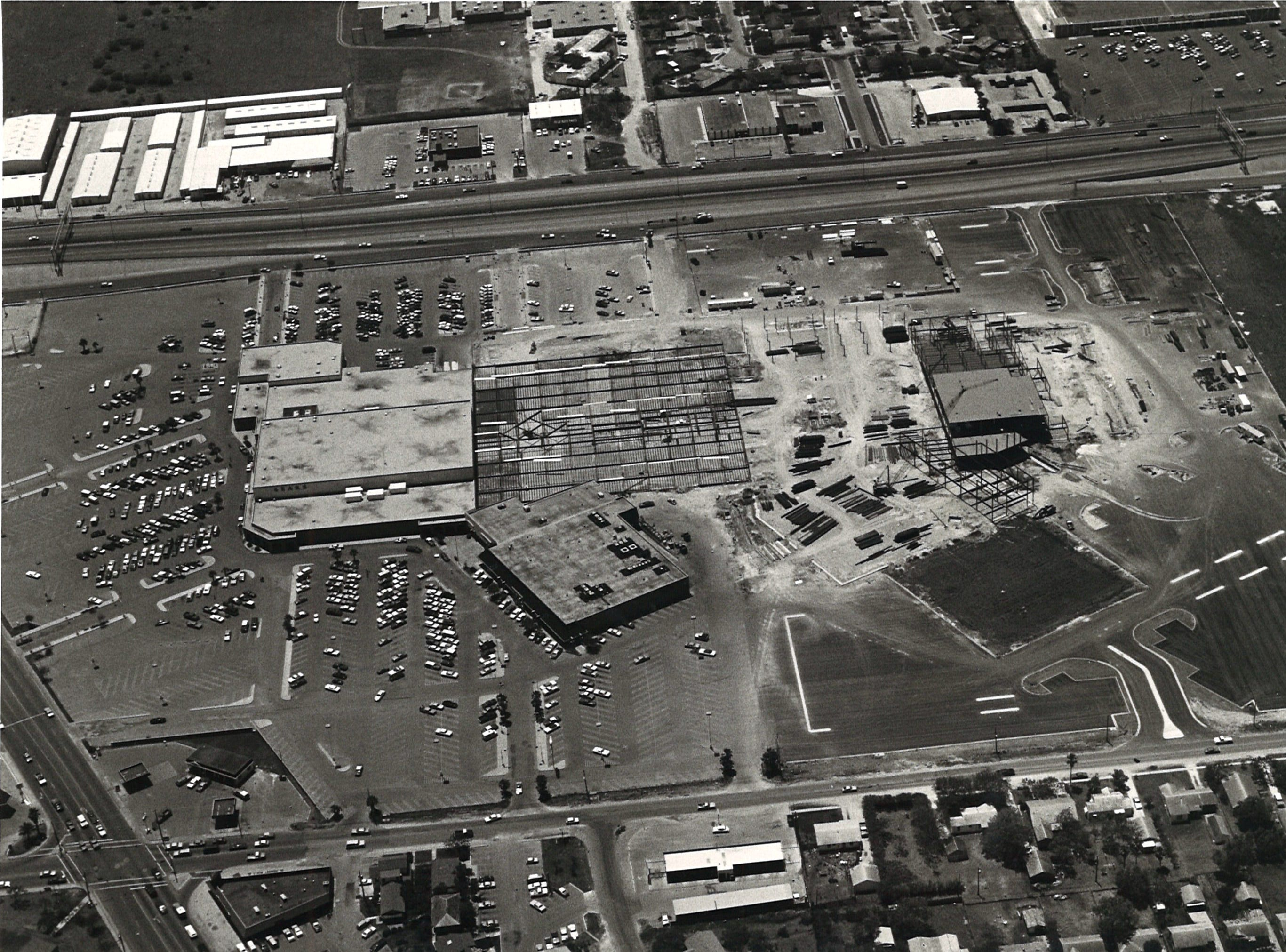 Construction of Sunrise Mall was underway when this photo was taken in April 1980. SPID is at top of photo, with the intersection of Airline and McArdle in the lower left corner. Sears, left, and HEB, bottom, were both already open as construction got underway.