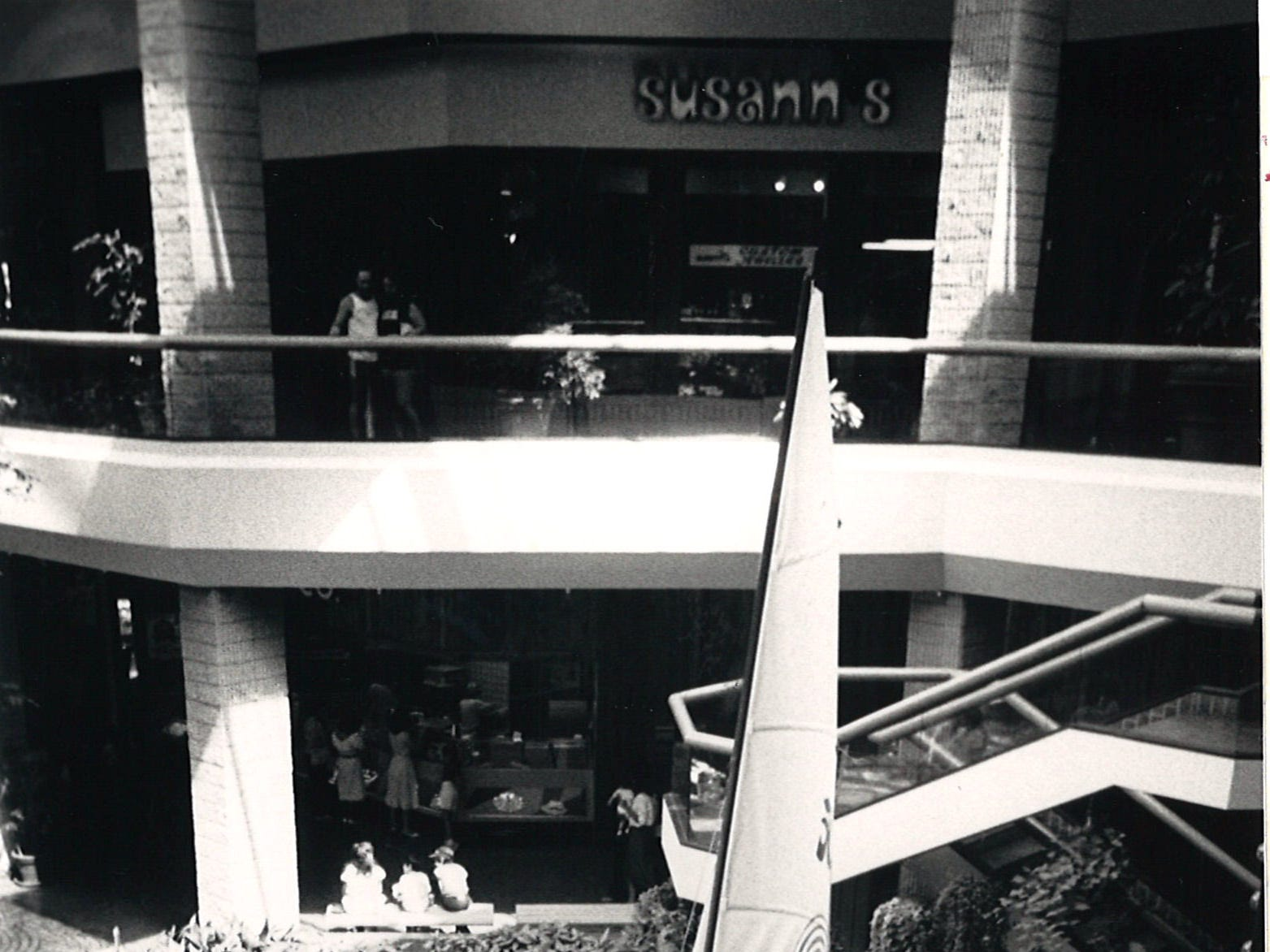 A catamaran sits in the fountain in Sunrise Mall's atrium as part of the exhibits for the SUmmer Fun and Fitness expo at the mall June 15, 1984.