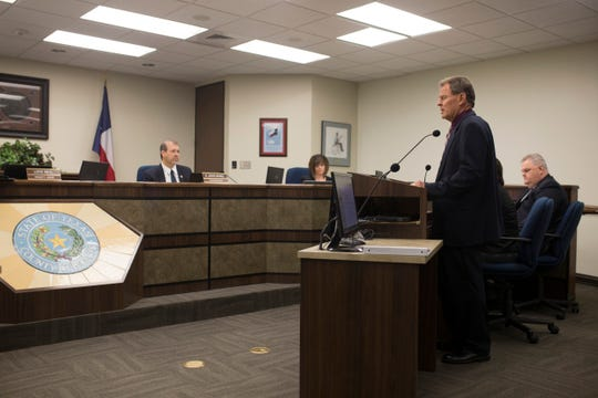 John Hooper with the Corpus Christi Police Department is interviewed by the Nueces County Commissioners Court for the position of Nueces County Sheriff on Wednesday, Oct. 7, 2018.
