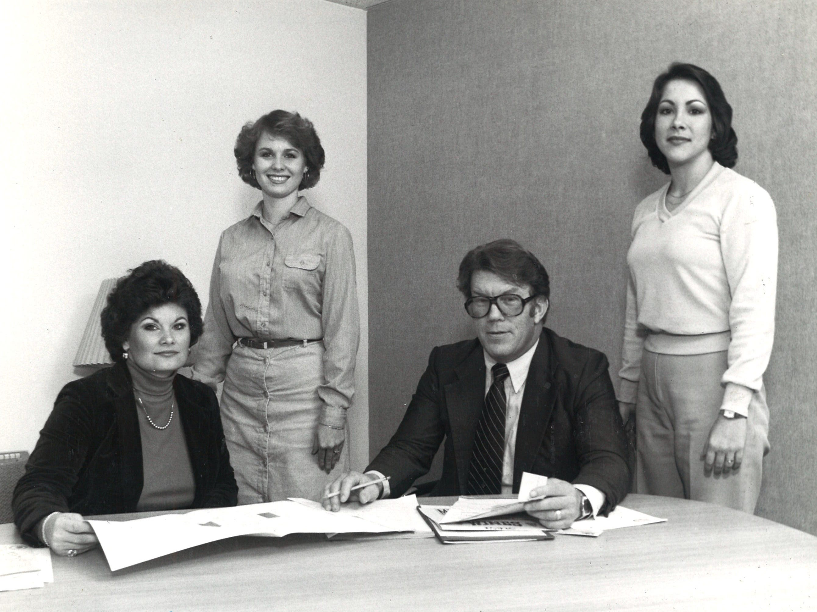 Sunrise Mall management staff in January 1981 (left to right): Nancy Wilshusen, marketing director; Delaine Graham, secretary; Norm Morris, general manager; and Dawna Perney, office manager.
