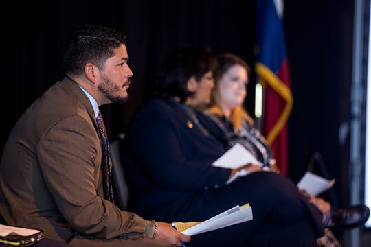 Nueces County District Attorney Mark A. Gonzalez listens as members of his staff speak at the State of the DA presented by the Corpus Christi Crime Stoppers at the Congressman Solomon P. Ortiz International Center on Wednesday, October 17, 2018.
