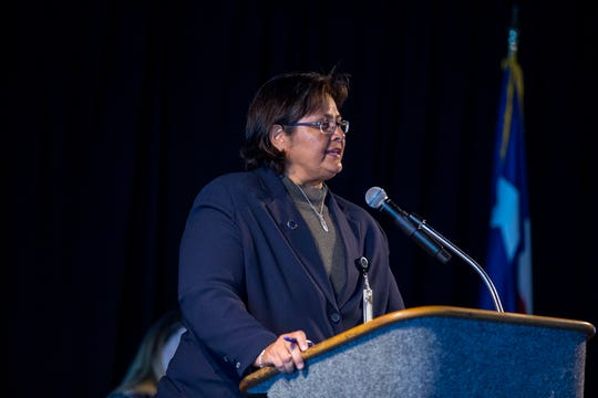 Melissa Madrigal, chief of administration for the Nueces County District Attorney's Office, speaks at the State of the DA presented by the Corpus Christi Crime Stoppers at the Congressman Solomon P. Ortiz International Center on Wednesday, October 17, 2018.