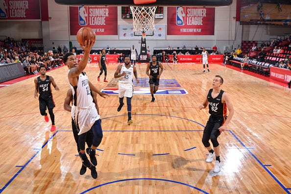 Trevon Bluiett #12 of the New Orleans Pelicans goes to the basket against the Miami Heat during the 2018 Las Vegas Summer League on July 12, 2018 at the Cox Pavilion in Las Vegas, Nevada.