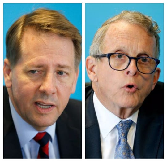 Rich Cordray, left, and Mike DeWine