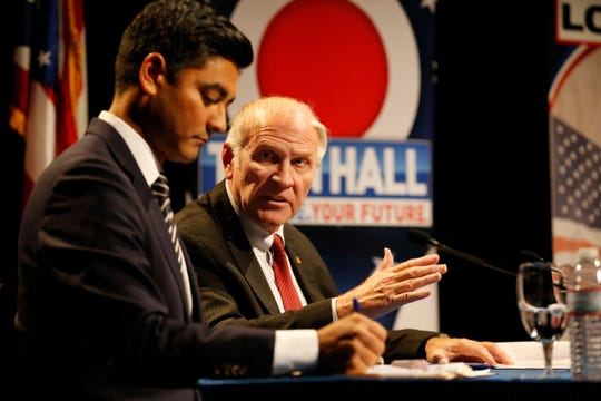 Republican incumbent, U.S. Rep,. Steve Chabot refutes claims made by Democratic candidate, Hamilton County Clerk, Aftab Pureval about his tenure as representative during a debate forum for the first and second congressional districts of Ohio hosted by AJC Cincinnati at the Mayerson Jewish Community Center in Amberly, Ohio, on Tuesday, Oct. 16, 2018.