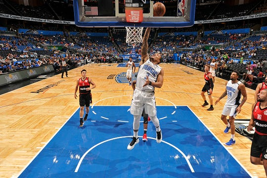 Troy Caupain #3 of the Orlando Magic drives to the basket against Flamengo during a preseason game at the Amway Center in Orlando, Florida on October 5, 2018.