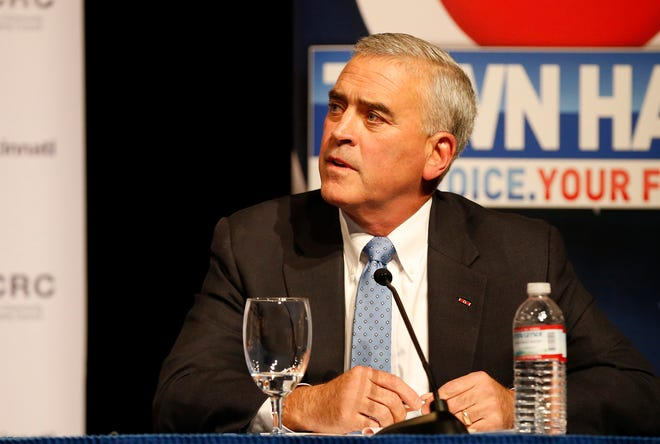 Republican incumbent, U.S. Rep,. Brad Wenstrup takes a question during a debate forum for the first and second congressional districts of Ohio hosted by AJC Cincinnati at the Mayerson Jewish Community Center in Amberly, Ohio, on Tuesday, Oct. 16, 2018.