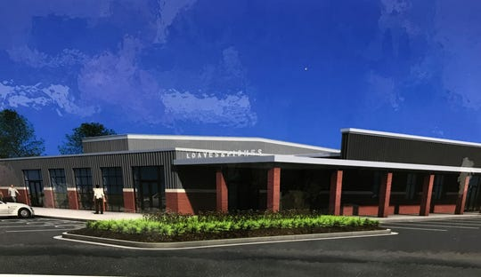 An artist rendering of the proposed new facility for Loaves & Fishes, which would be constructed on a plot of land gifted to them at Crossland Ave. and Martin St. in Clarksville.