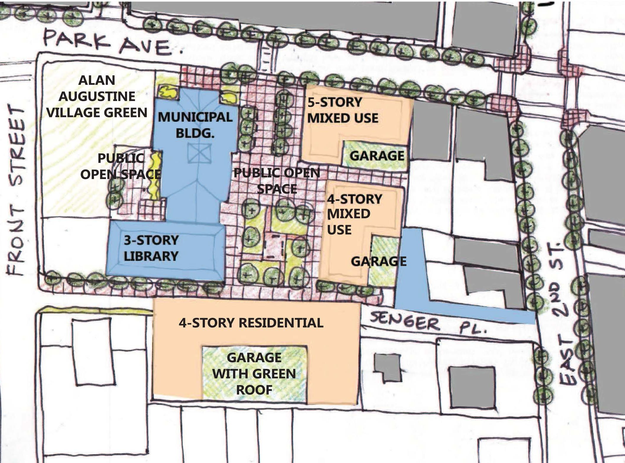 The concept drawing of Scotch Plains' plain to redevelopment its municipal complex parking lot and police and fire stations.
