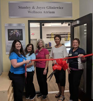 (Left to right) Shelby Nelson, Wellness and Aquatics Program supervisor; Mary Benyola, assistant director, Hunterdon Health and Wellness Centers; Tamra Campanella, administrative director, Hunterdon Health and Wellness Centers; Joyce Gliniewicz and Cheryl Getz, fitness supervisor, Hunterdon Health and Wellness Centers.