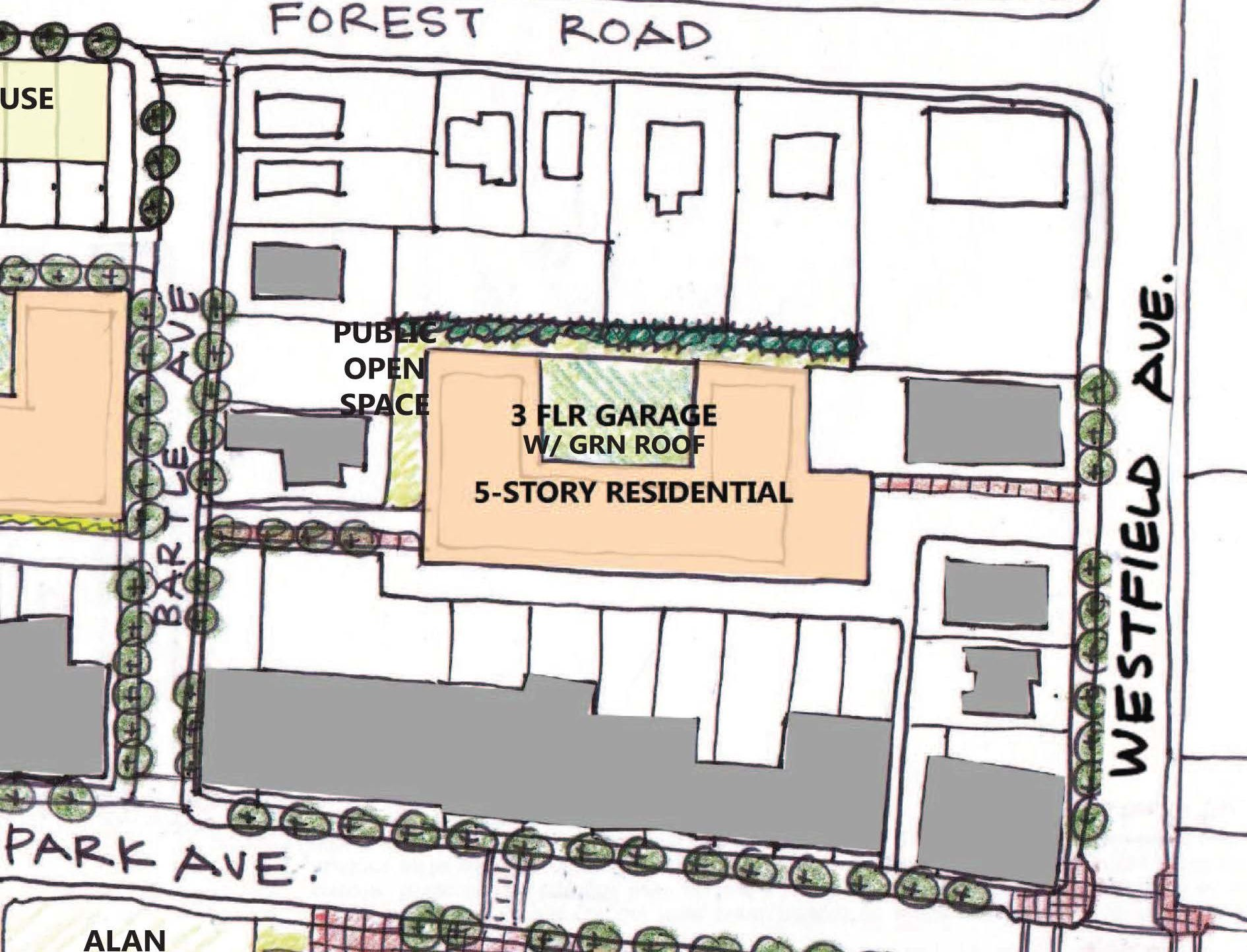 A look at Scotch Plains' plan to redevelopment the municipal parking lot at Park & Bartle avenues.