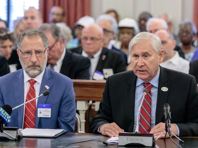 Scotch Plains Mayor Al Smith, right, testifies on July 25 before the state General Assembly Housing and Community Development Hearing on Affordable Housing. He offered six solutions to make the affordable housing process more regulatory, transparent, cooperative, affordable, and fair.