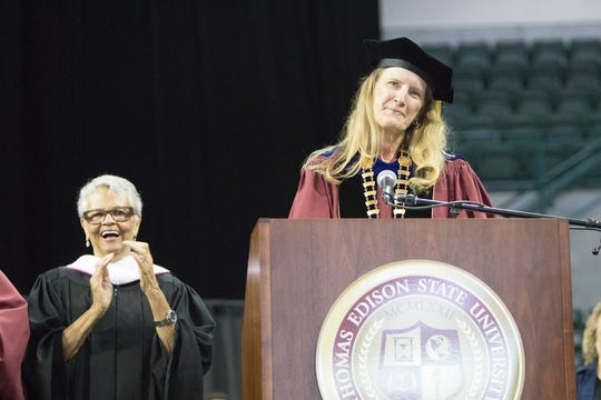 New Jersey Congresswoman and TESU alumna Bonnie Watson Coleman, BA class of 85, looks on as Dr. Merodie Hancock (on right) addresses Thomas Edison State University's graduates during her inauguration and the institution's 46th Annual Commencement Ceremony on Sept. 29 at the CURE Insurance Arena in Trenton.