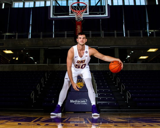 Northern Iowa Austin Phyfe (50) poses for a portrait during Panthers men's basketball media day on Wednesday, Oct. 17, 2018, at the McLeod Center in Cedar Falls.