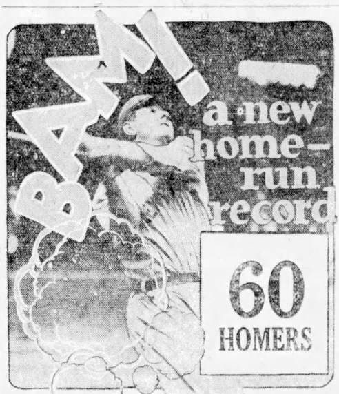 From 1927: An illustration from the Oct. 1, 1927 Des Moines Tribune, the day after New York Yankees slugger Babe Ruth hit his major league record 60th home run of the season, a mark that would stand until 1961.