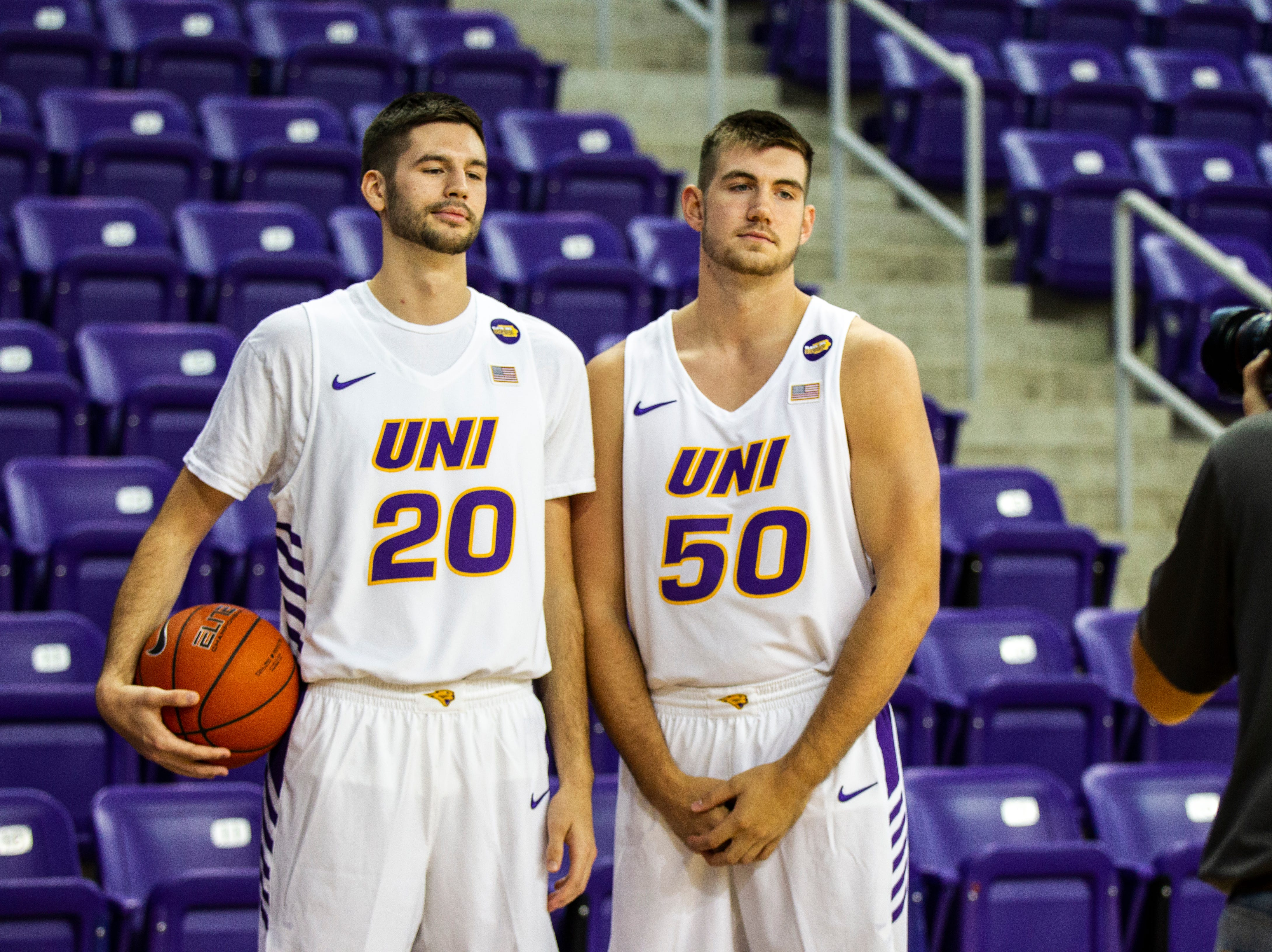 Northern Iowa forwards Shandon Goldman (20) and Austin Phyfe (50) pose for a photo during Panthers men's basketball media day on Wednesday, Oct. 17, 2018, at the McLeod Center in Cedar Falls.