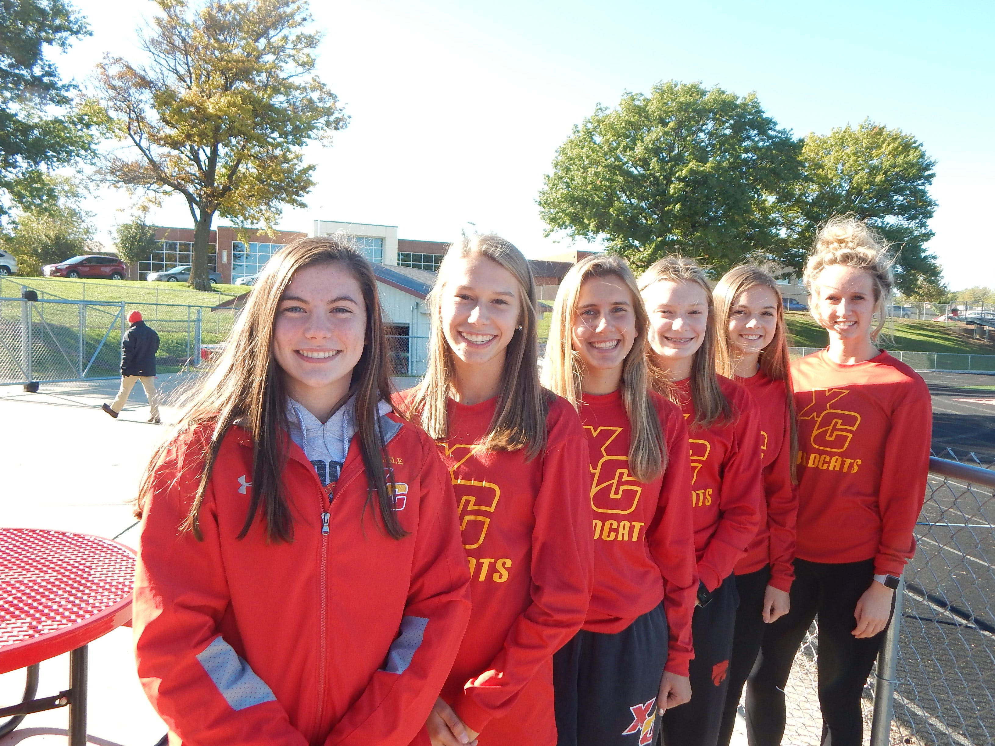 Carlisle's runners hope to end the season at state. From left: Abby Noonan, Ainsley Erzen, Megan Sievers, Mady Taylor, Ella Andersen and Jocelyn Haack.