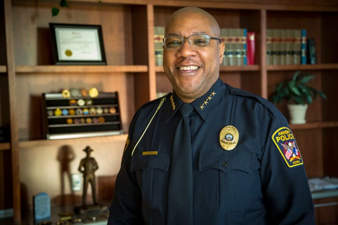 Ankeny Police Chief Darius Potts at his office Wednesday, Oct. 17, 2018. Chief Potts is an ISU grad and spent several years in Arizona before moving back to Iowa earlier this year for the job.