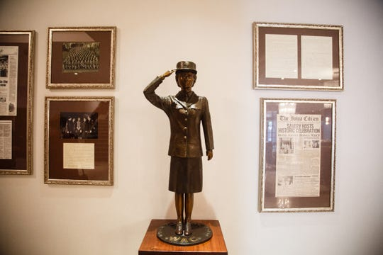 A statue given to the hotel by the Women's Auxiliary Corps stands in the newly renovated lobby on Wednesday, Oct. 17, 2018, in Des Moines.