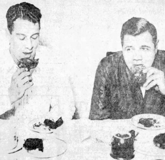 From 1927: New York Yankees stars Lou Gehrig, left, and Babe Ruth eat Iowa pheasant for breakfast Oct. 17, 1927, at Hotel Fort Des Moines before their exhibition game at Western League Park.
