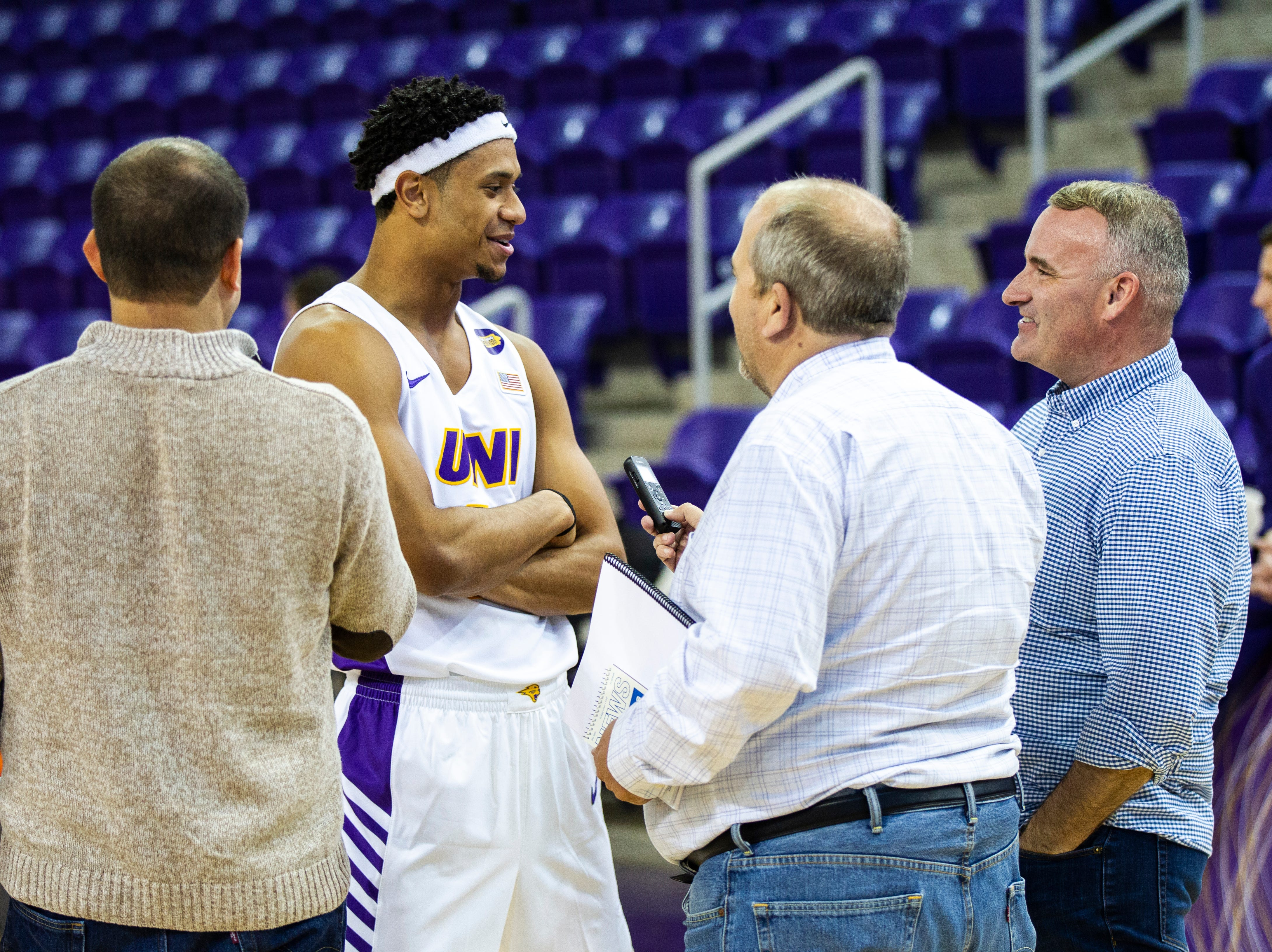 Northern Iowa guard Trae Berhow talks with reporters during Panthers men's basketball media day on Wednesday, Oct. 17, 2018, at the McLeod Center in Cedar Falls.