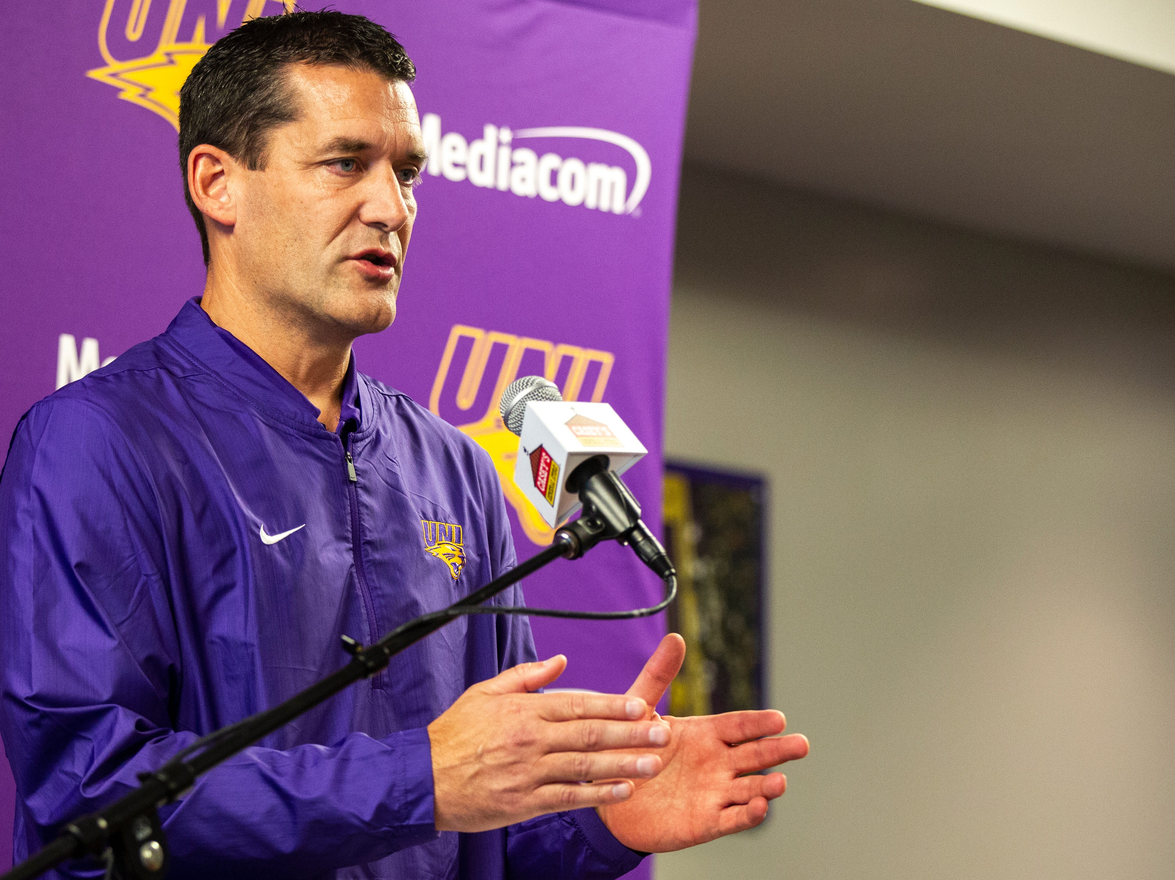 Northern Iowa head coach Ben Jacobson talks to reporters during Panthers men's basketball media day on Wednesday, Oct. 17, 2018, at the McLeod Center in Cedar Falls.