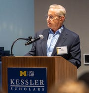 Fred Wilpon speaking at the Kessler Scholars welcome reception and dinner on September 21, 2018 in Ann Arbor.