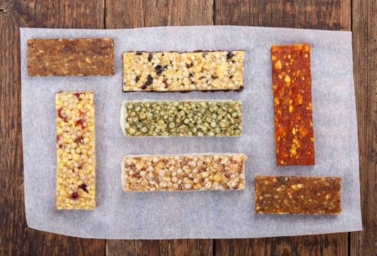 Various Muesli Granola Fruit Bars With Nuts Cereals Dried Berries Healthy Energy Snack Top View