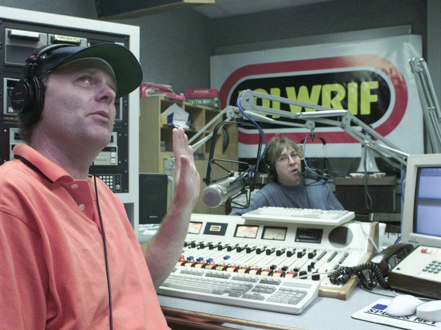 Drew Lane, left, and Mike Clark, right, are co-hosts of WRIF's The Drew and Mike Show photographed on Wednesday, Nov. 28, 2001.