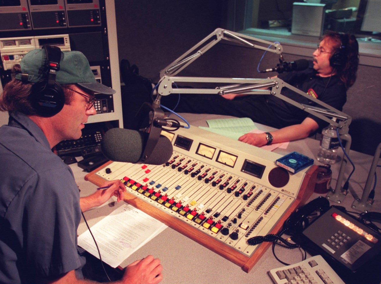 Mike Clark and Drew Lane, co-hosts of WRIF's The Drew and Mike Show, photographed in the studio in 1996.
