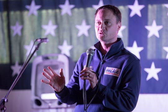 Republican candidate for Michigan Attorney General Tom Leonard speaks during a private fundraiser event for Congressman Mike Bishop in Hartland, Friday, Sept. 21, 2018.