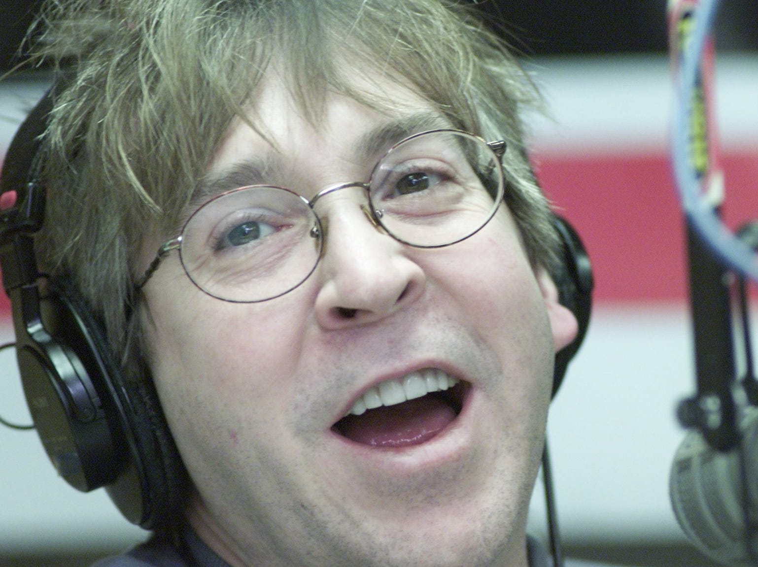 Mike Clark, co-host of WRIF's The Drew and Mike Show in studio in 2001.