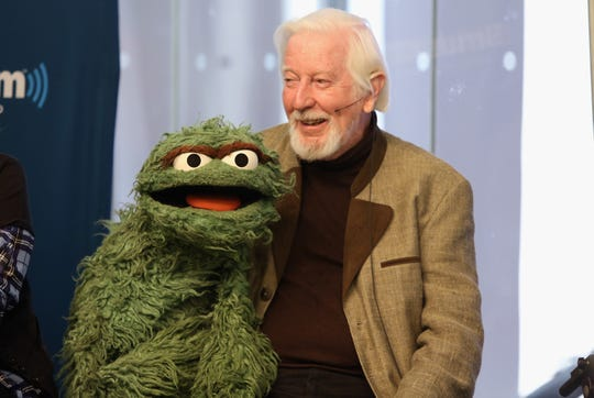 "Caroll Spinney ""Oscar and Big Bird"" attends SiriusXM's Town Hall with original cast members from Sesame  Street commemorating the 45th anniversary of the celebrated series on October 9, 2014 in New York City."