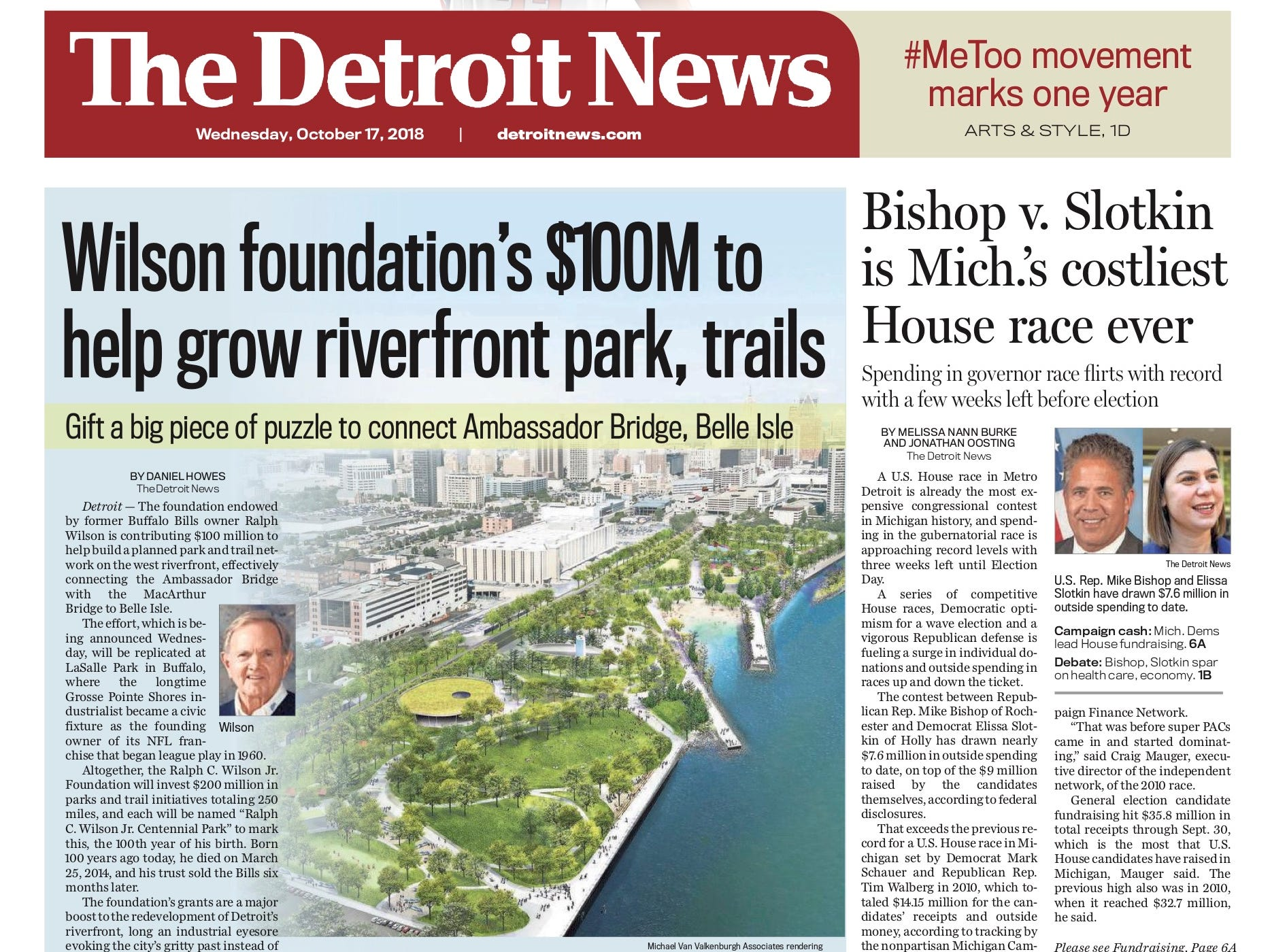 The front page of the Detroit News on October 17, 2018.