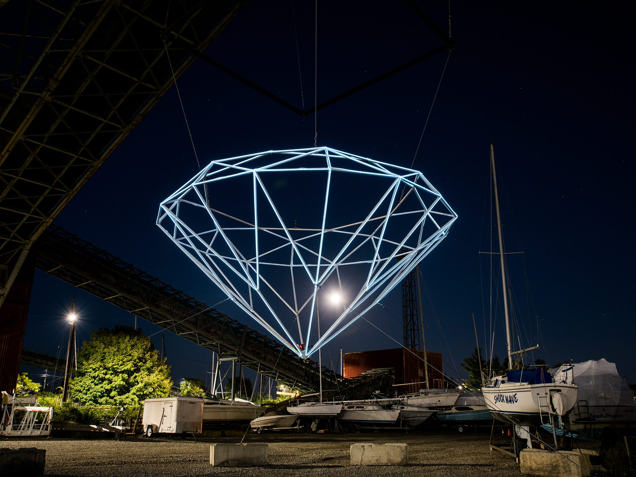 """""""This isn't just a diamond hanging here because we wanted to build a cool light installation,"""" Steve Coy says. """"It's a diamond in a boatyard in a coal factory. We crafted each one of these visual artifacts for this specific location."""""""