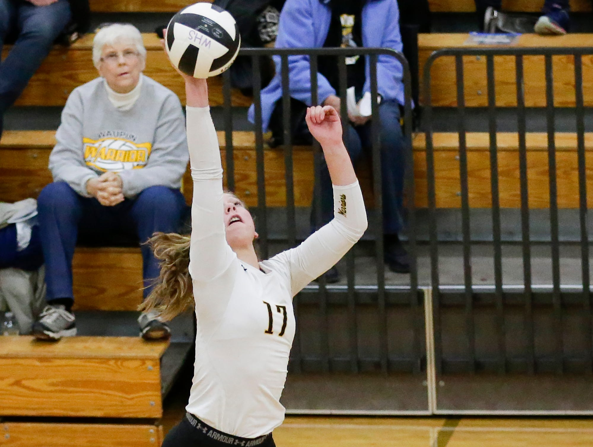 Waupun High School volleyball's Emily Rens hits the ball against Berlin High School during their WIAA regional quarter-final playoff game Tuesday, Oct. 16, 2018, in Waupun.