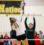Waupun's Claire Bresser hits the ball against Berlin during a WIAA regional quarterfinal.