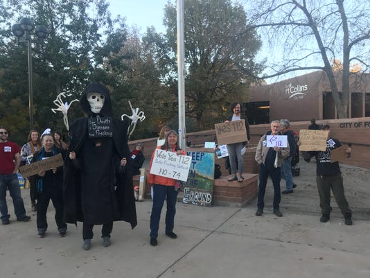 Oil and gas protesters at Fort Collins City Hall