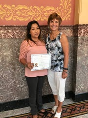 Mary Gotstein, right, a tutor for Literacy Partners of Kewaunee County, is seen with her student Josie after Josie earned her U.S. citizenship. Literacy Partners has helped 10 of its students become citizens.