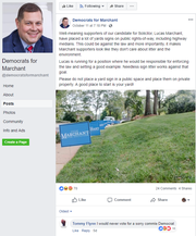 Solicitor candidate Lucas Marchant filed for an injunction Tuesday, Oct. 16, 2018, to get this Facebook page pulled down.