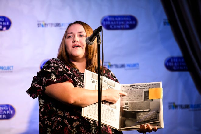 Melody Bolinger-Wofford, an educator, speaks during the Greenville News Storytellers event at the Comedy Zone on Tuesday, Oct. 16, 2018.